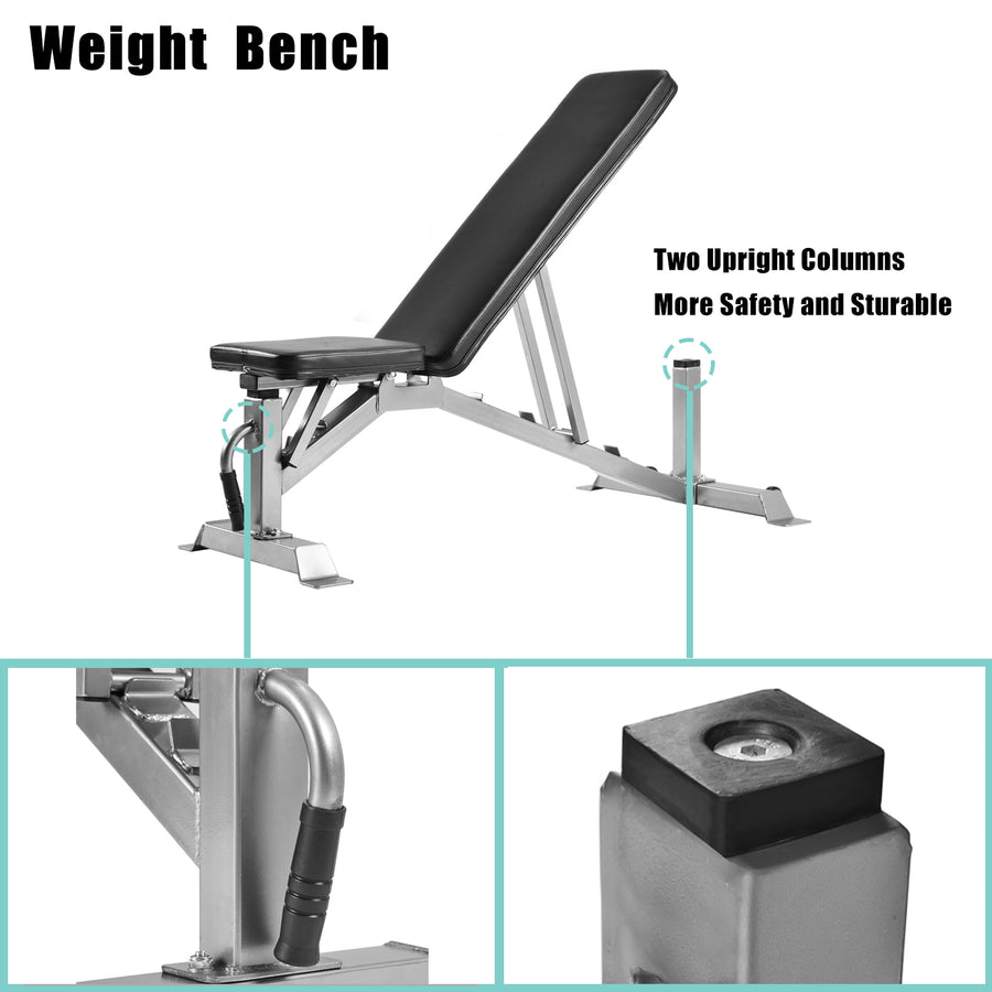 GT Deluxe Utility Weight Bench for Weightlifting and Strength Training Adjustable Sit Up AB Incline Bench Gym Equipment US-3