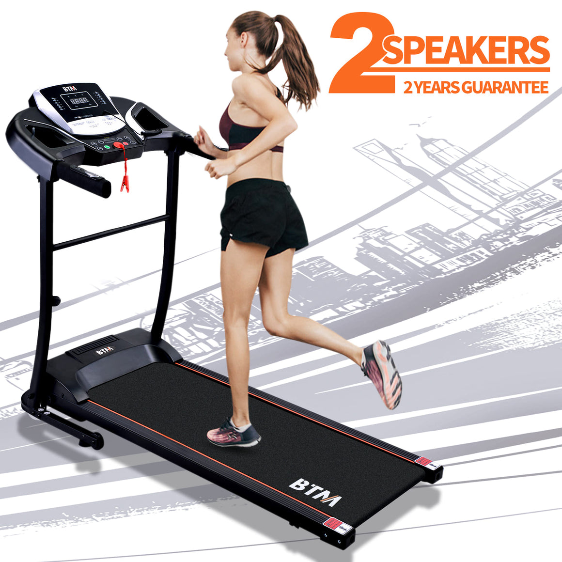 Electric Treadmill Folding Motorized Runing Jogging Walking Machine for Home use UK-2