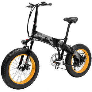 Pre-sale LANKELEISI X2000Plus Electric Bike Bicycle 48V 10.4AH 20in Tire 90KM Mileage - Black Yellow Poland