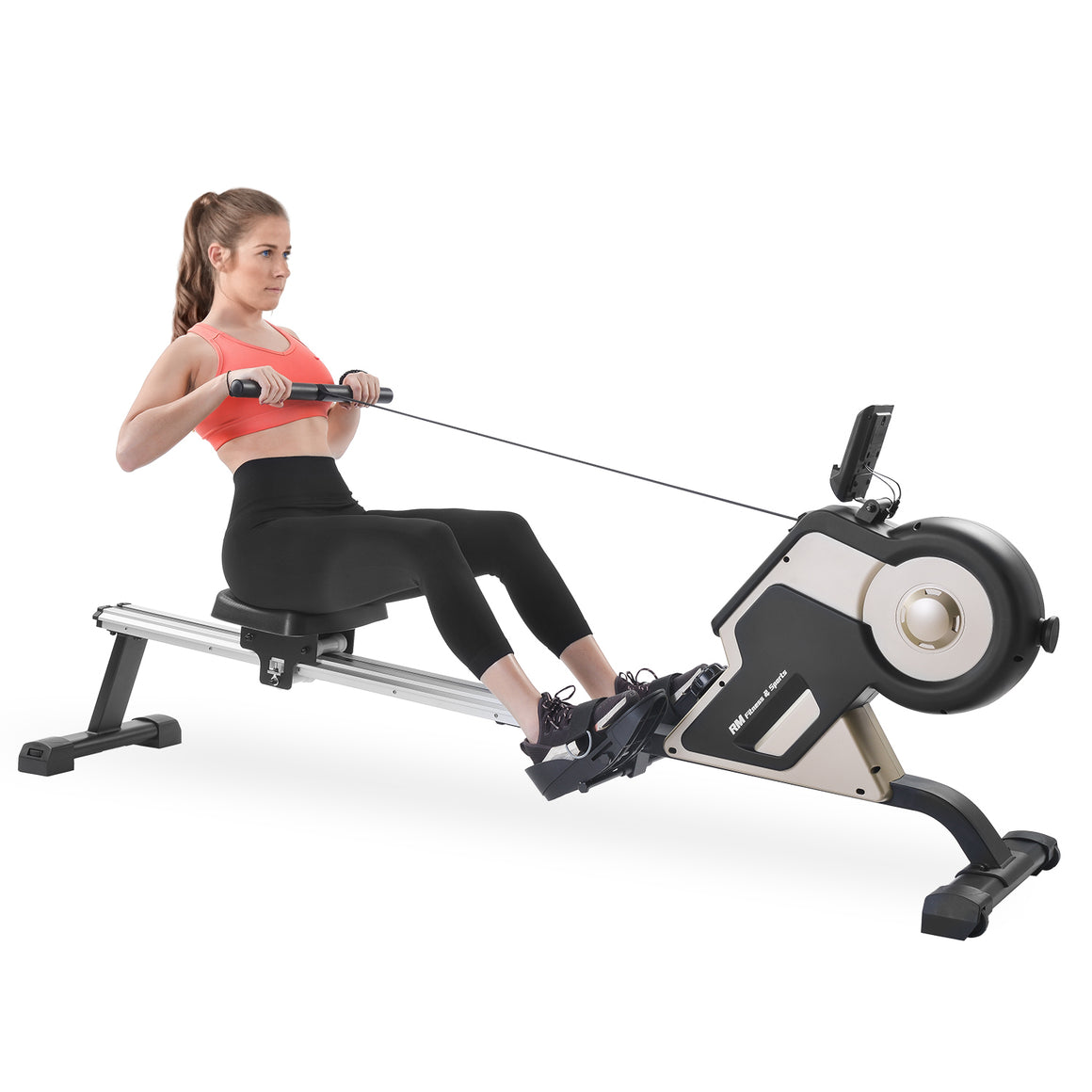 GT Magnetic Rowing Machine Compact Indoor Rower with Magnetic Tension System, LED Monitor and 8-level Resistance Adjustment Fitness Equipment for Home Gym US-1
