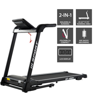 "GT-4601 2.25hp treadmill home gym Diamond Pattern Silent Belt 47.25*17.75"" Soft Dropping Built in Speaker US-7"