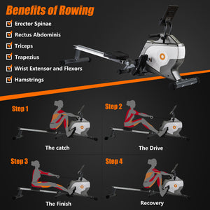 Rowing Machine Fitness Cardio Workout with Adjustable Magnetic Resistance UK-1
