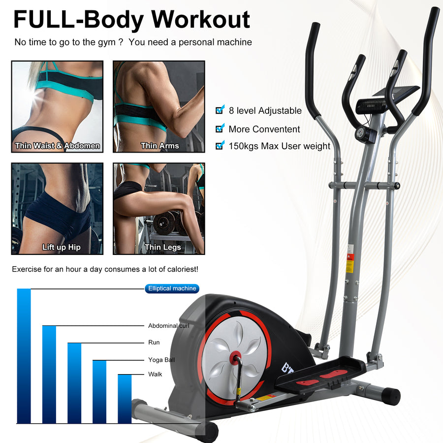 Elliptical Machine Trainer, Home Cross Trainer with LCD Monitor and Pulse Rate Grips Magnetic Smooth Quiet Driven UK-7