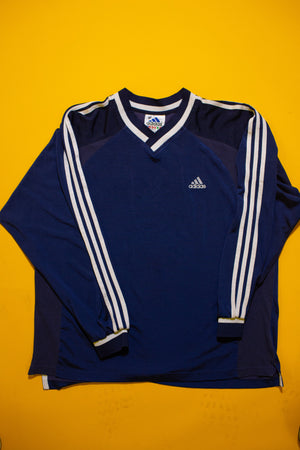 Navy & White vintage Adidas Long Sleeve Nylon sweater