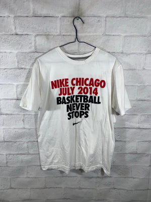 White Nike Chicago July 2014 Basketball Never Stops Graphic T-Shirt