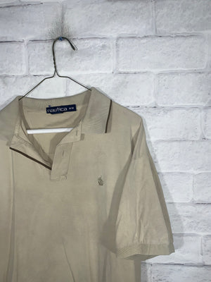 Vintage Cream Nautica Quarter Button Golf Shirt