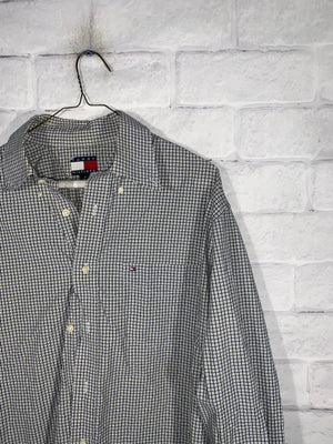 Vintage Black/White Tommy Hilfiger Full Button Dress Shirt