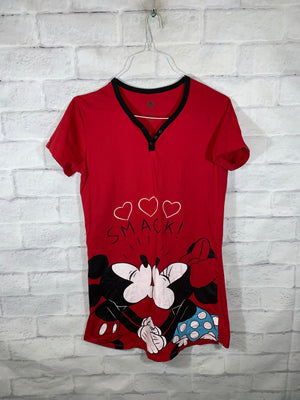 Red Disney Mickey & Minnie Mouse Graphic Print Dress Shirt