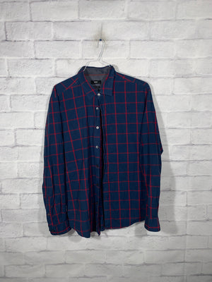 Hugo Boss Blue/Red Full Button Dress Shirt