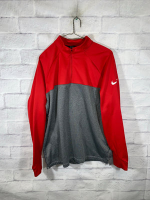 Red/Grey Nike Quarter Zip Longsleeve Sweater