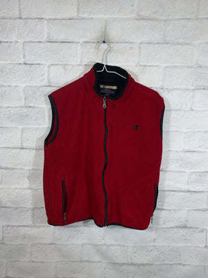 Vintage Red Champion Full Zip Vest