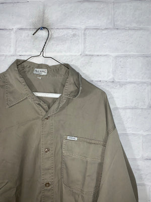 Olive Green Guess Jeans Full Button Dress Shirt