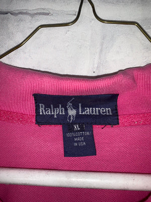 Vintage Pink Ralph Lauren Quarter Button Golf Shirt