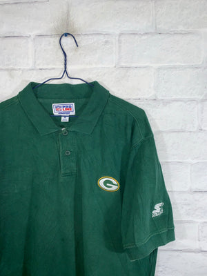 Green Starter Greenbay Packers Quarter Button Golf Shirt