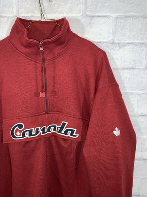 Red Canada Quarter Zip Anorak Longsleeve Sweater