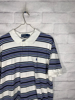 Vintage Blue & White Polo Ralph Lauren Quarter Button Golf Shirt