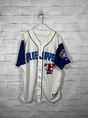 White/Blue Toronto Blue Jays Full Button Jersey