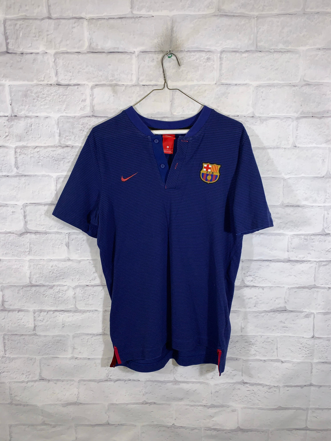 Blue Nike FC Barcelona Quarter Button Golf T-Shirt