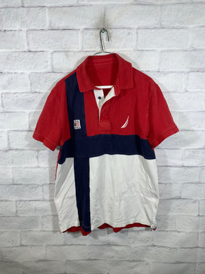 Red/White Nautica USA Quarter Button Golf T-Shirt