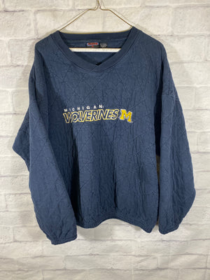 Michigan Wolverines quilt stitched cruneck sweater