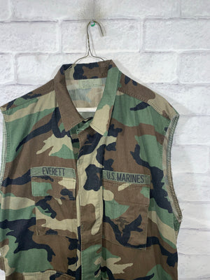 Military Army Camo Full Button Vest