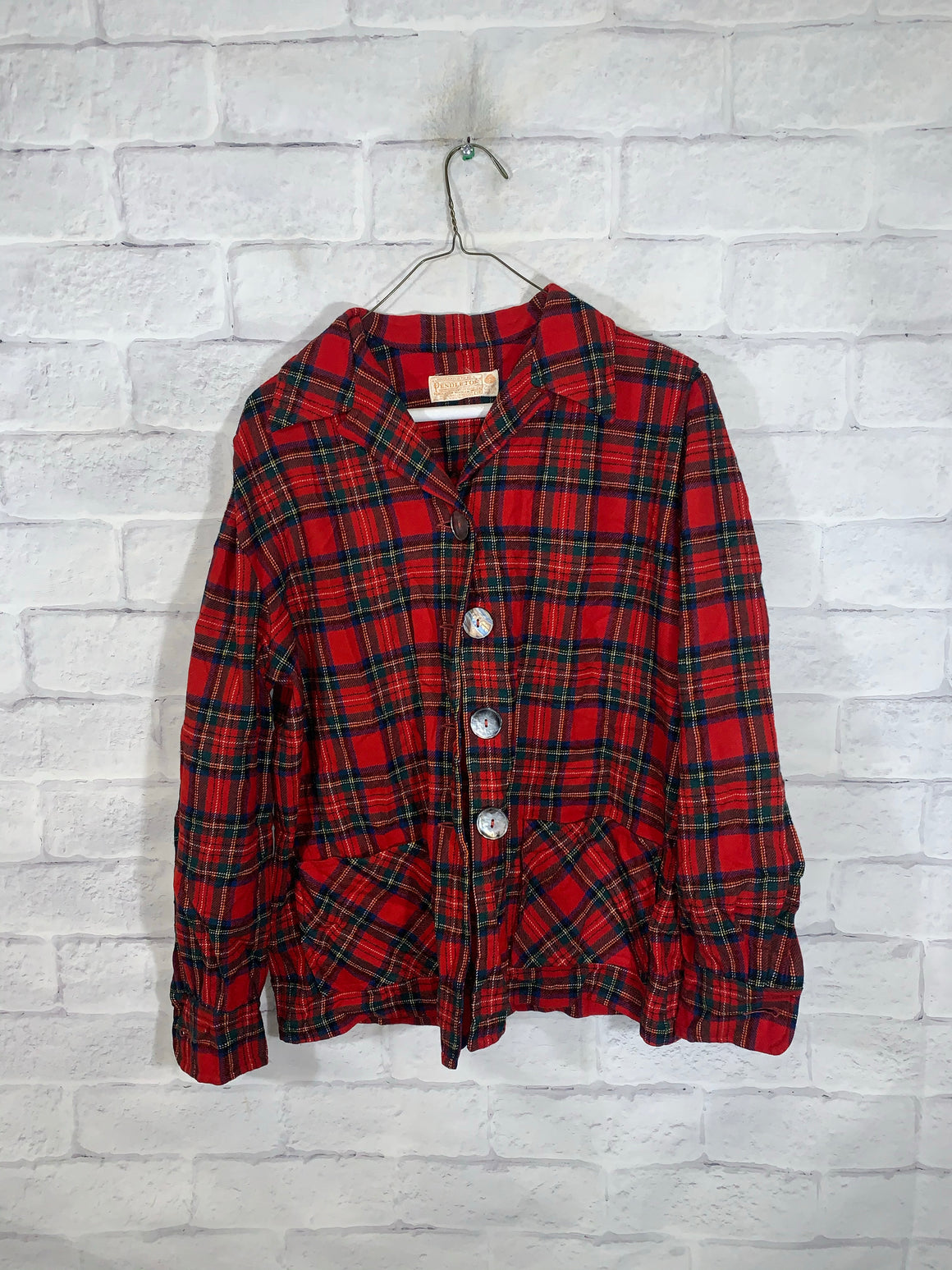Red Pendleton Full Button Dress Shirt