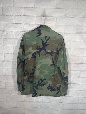 Green Army Camo Full Button Jacket