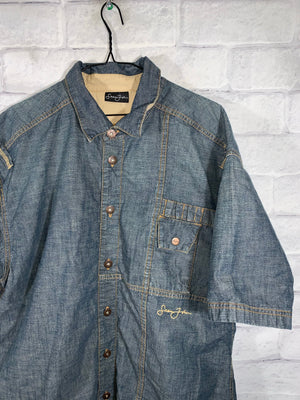 Blue Sean John Denim Full Button Dress Shirt