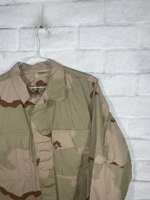 Vintage Military Camo Full Button Jacket
