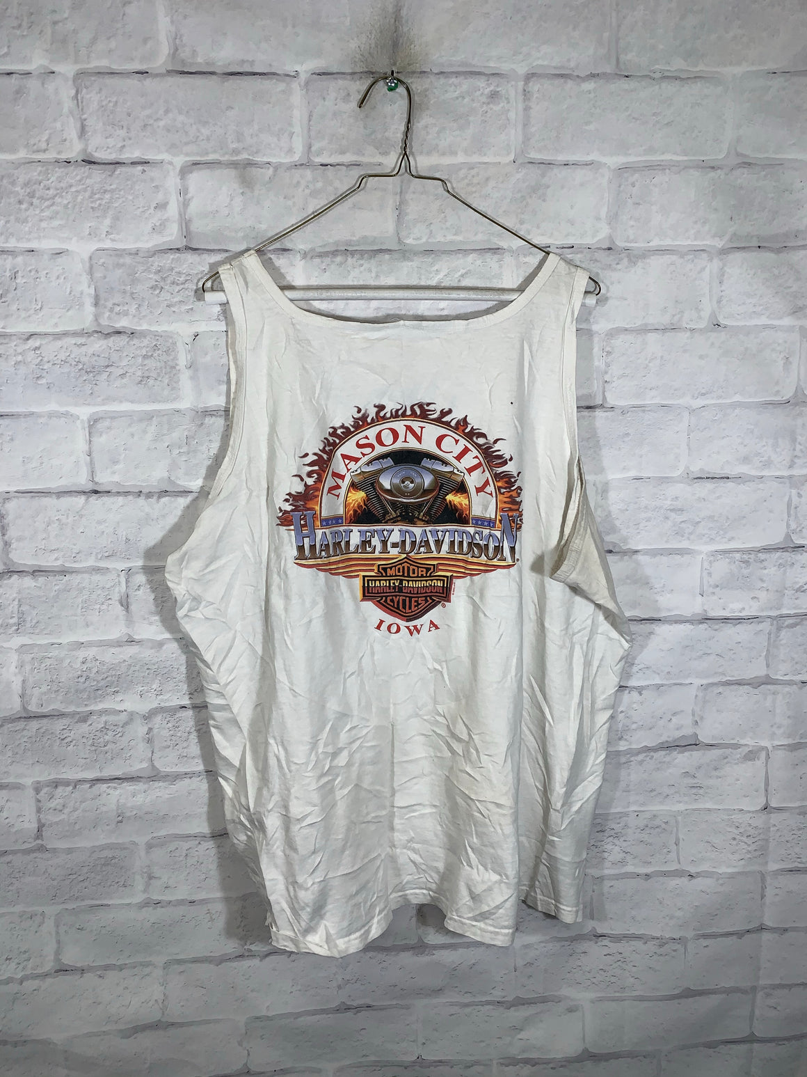 White Harley Davidson Iowa, Mason City Double-sided Graphic Tank Top
