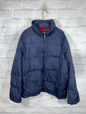 Blue Tommy Hilfiger Full Zip Puffer Jacket