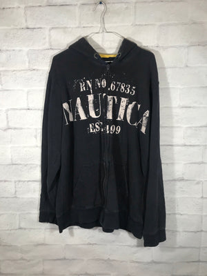 Nautica Jeans double graphic fullzip sweater SZ mens Large