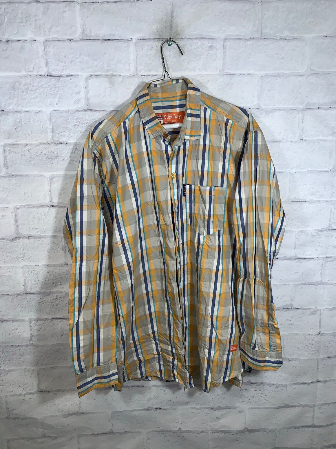 Brown/Yellow/Blue Superdry Full Button Dress Shirt