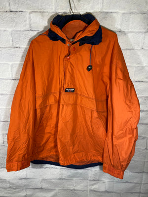 Orange Chaps Ralph Lauren Half-Zip Light Jacket