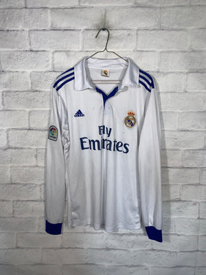 White Adidas Real Madrid Ronaldo Longsleeve Sports Jersey