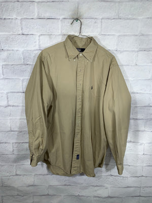 Light Brown Polo Ralph Lauren Full Button Dress Shirt