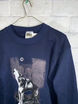 Blue Wolf Animal Graphic Longsleeve Sweater Crewneck