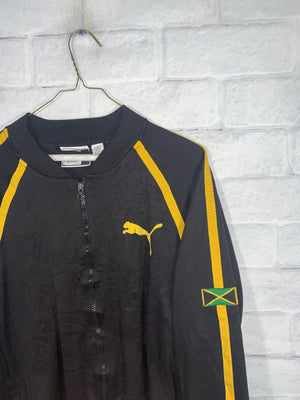 Vintage Black/Yellow Puma Jamaica Full Zip Light Jacket
