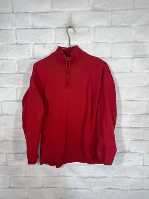 Vintage Red Polo Ralph Lauren Quarter Zip Longsleeve Sweater