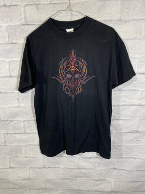 Flaming skull double graphic tshirt