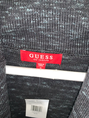 Grey Guess Quarter Button Longsleeve Sweater
