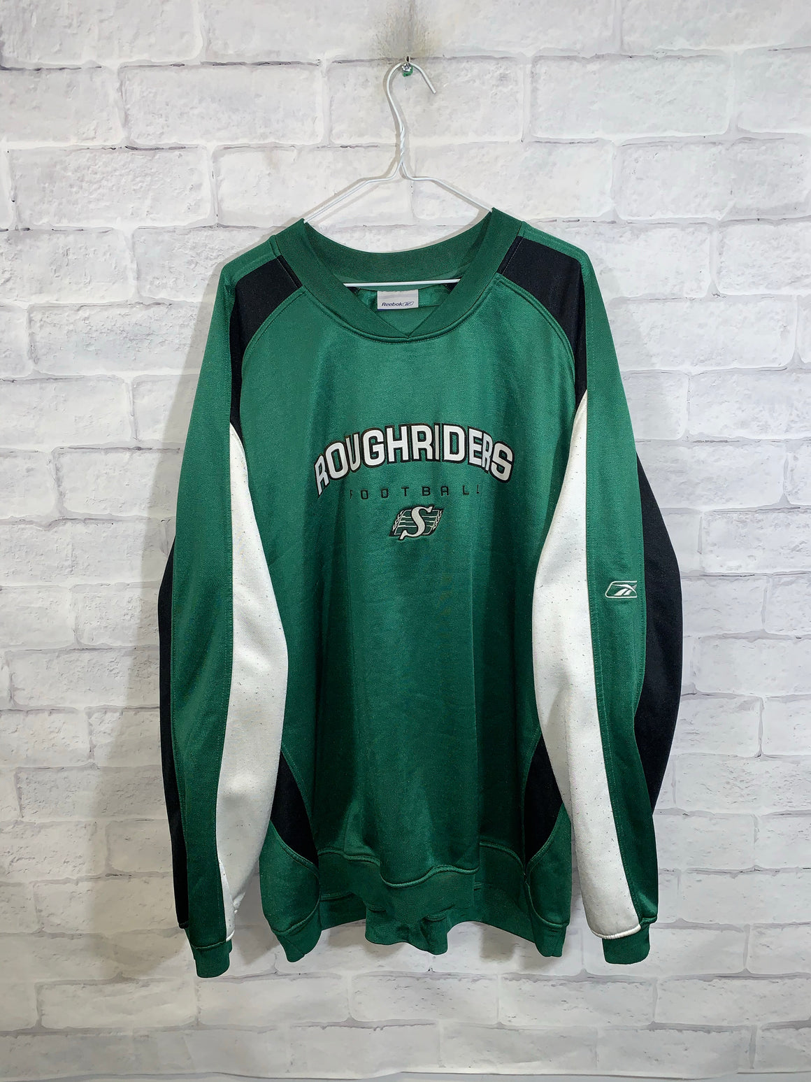 Green Reebok CFL Saskatchewan Roughriders Longsleeve Sweater