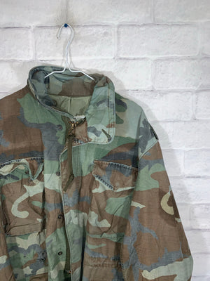 Vintage Army Camo Full Zip Jacket