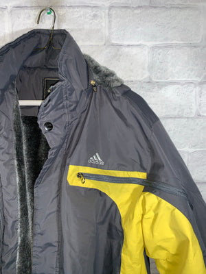Grey/Yellow Adidas Full Zip Winter Jacket