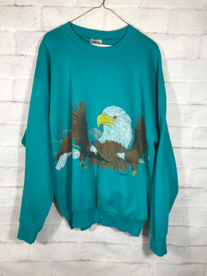 Nature Bald Eagle double graphic sweater SZ mens XL fits slim