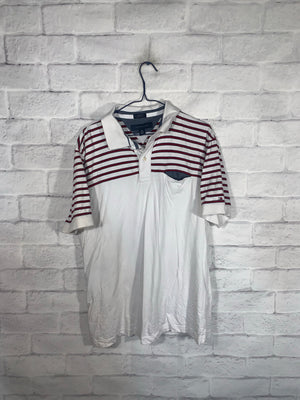 Vintage Red/White Tommy Hilfiger Quarter Button Golf Shirt