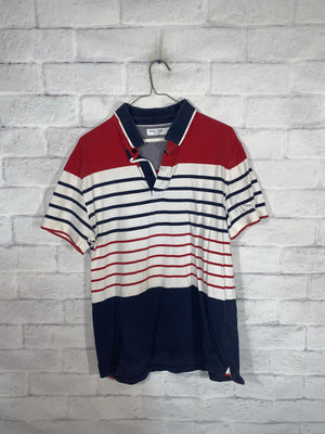 Vintage Red/White/Blue Nautica Quarter Button Golf Shirt