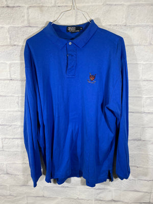 Blue Polo Ralph Lauren Quarter Button Longsleeve Shirt