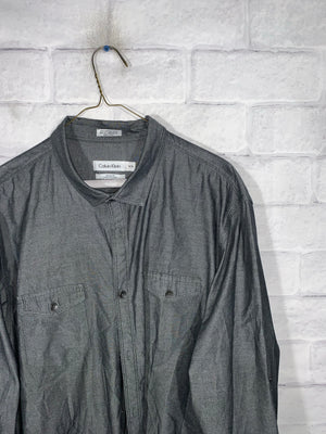 Grey Calvin Klein Full Button Dress Shirt