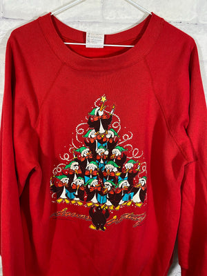 Christmas penguins crewneck sweater